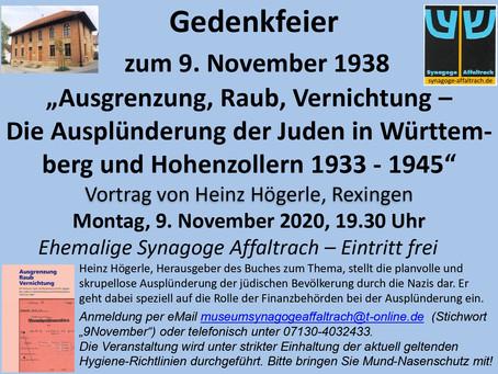 """Abgesagt - Gedenkfeier zum 9. November 1938 - """"Ausgrenzung, Raub, Vernichtung"""""""