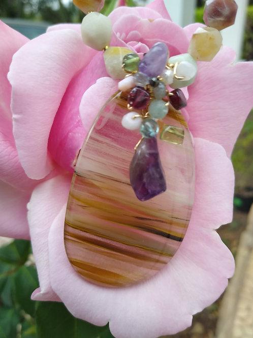 Amazonite and Lodolite. Eco-fashion Jewelry