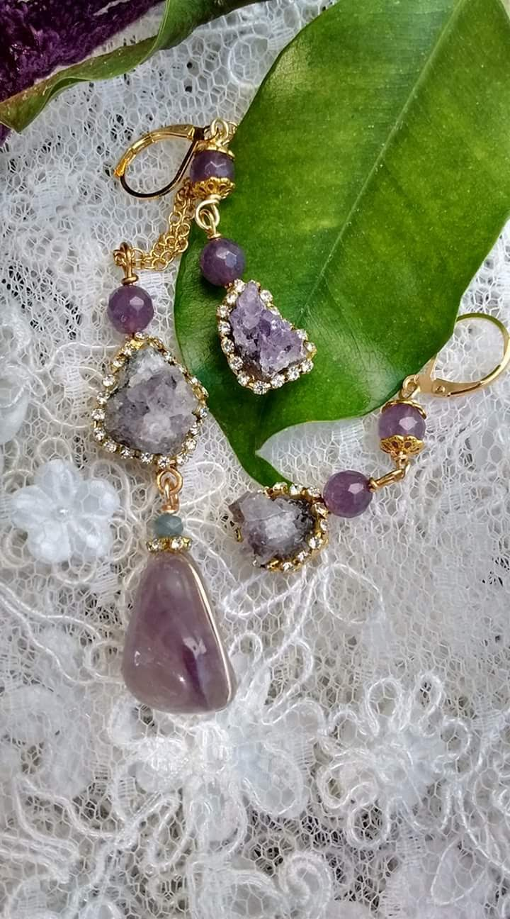Amethyst quartz.Set of necklace and earrings. Unique piece