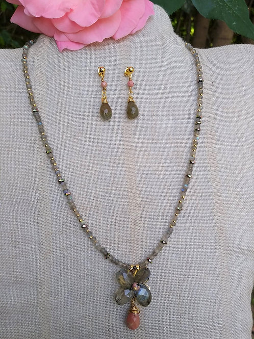 Labradorite, rhodochrosite and Hematite. Set of necklace and earrings, handmade,