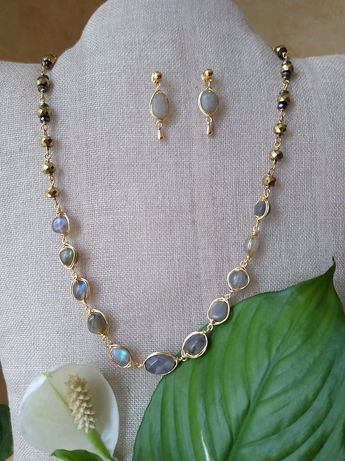 Labradorite and Hematite. Sustainable jewelry