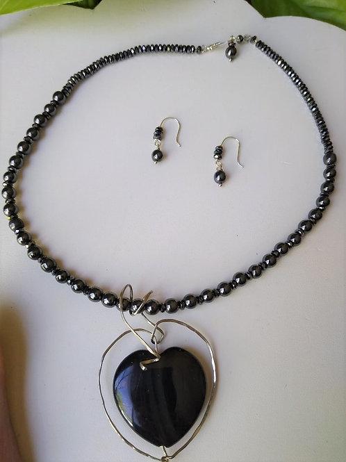 Obsidian Rainbow and Hematite. Eco- fashion jewelry
