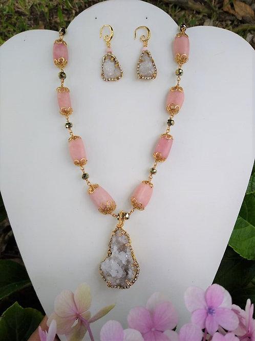 Sugar Quartz and Peruvian Opal. Handmade Jewelry