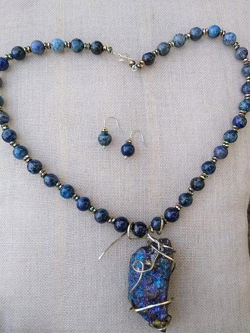 Lapis lazuli, Calcopyrite and Hematite. Handmade Jewelry