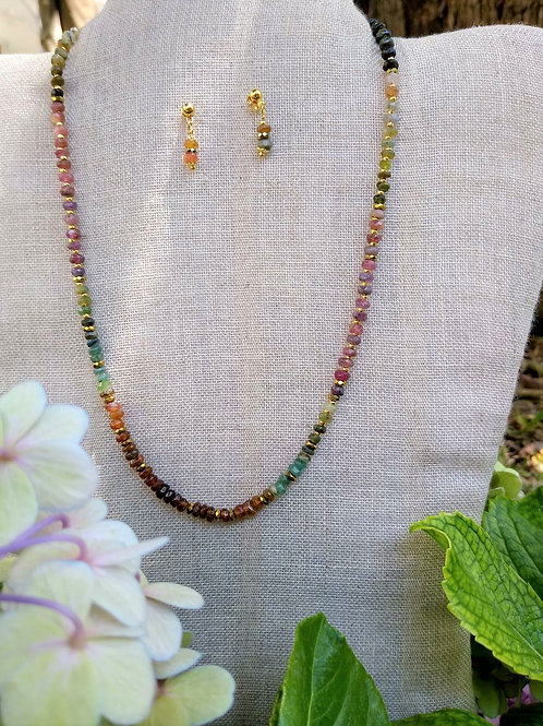 Tourmaline and Hematite. Handmade jewelry