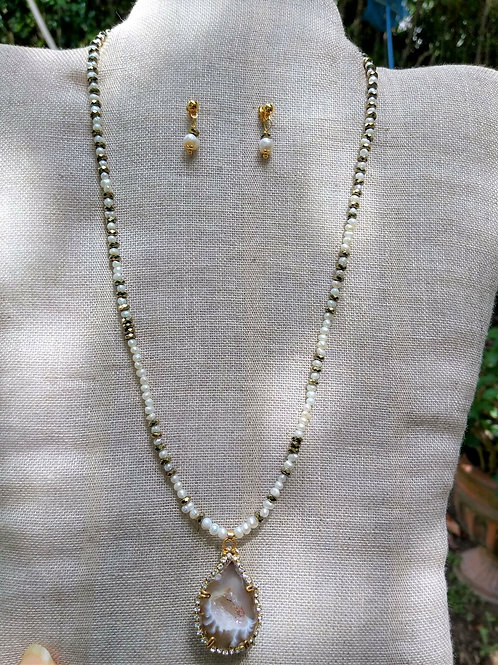 Geode, Cultivated Pearl and Hematite. Eco-fashion Jewelry