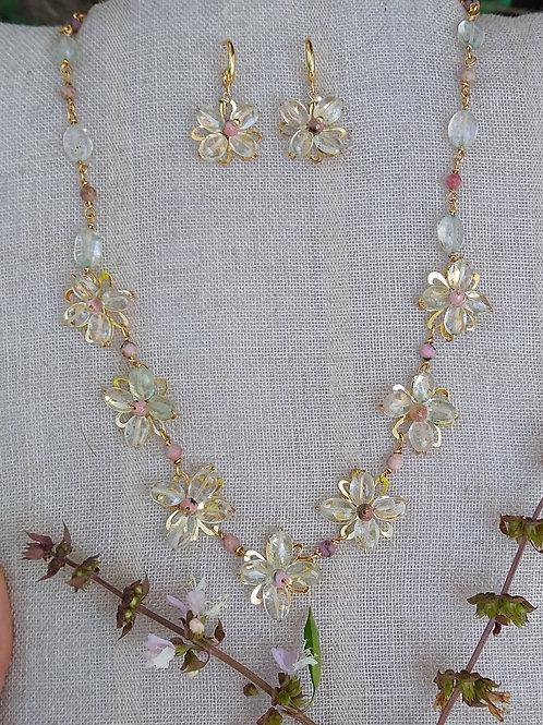Aquamarine and Rhodocrosite. Gemstone Necklace