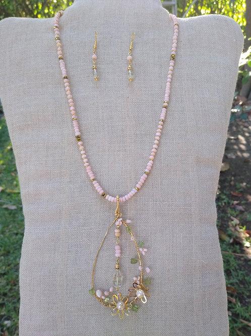 Aquamarine, Peruvian opal, pearls, hematite and peridot . Handmade Necklace