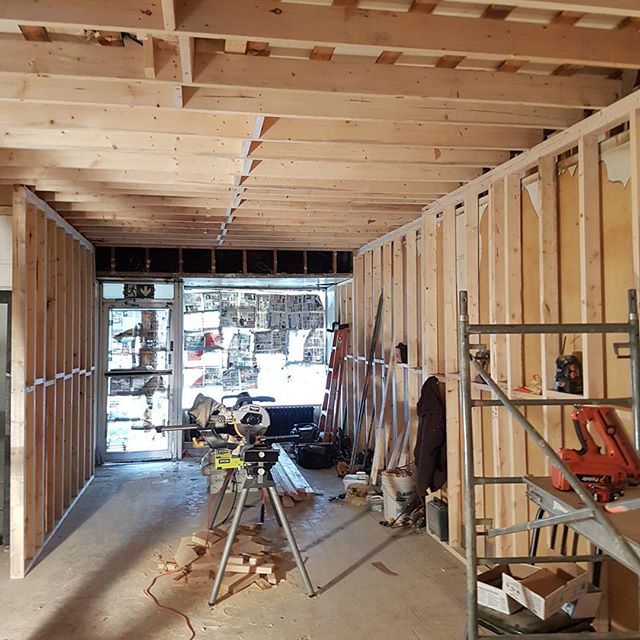 Demo Complete, New Framing for this future Hair Salon in the East York Community. Was once an old pi