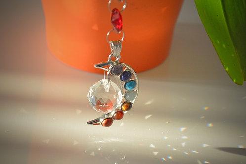 Hanging Crystal with Chakra Moon