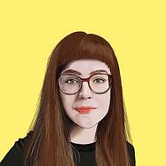 Illustration von Eszter. Sie guckt geradeaus. Der Hintergrund ist gelb.