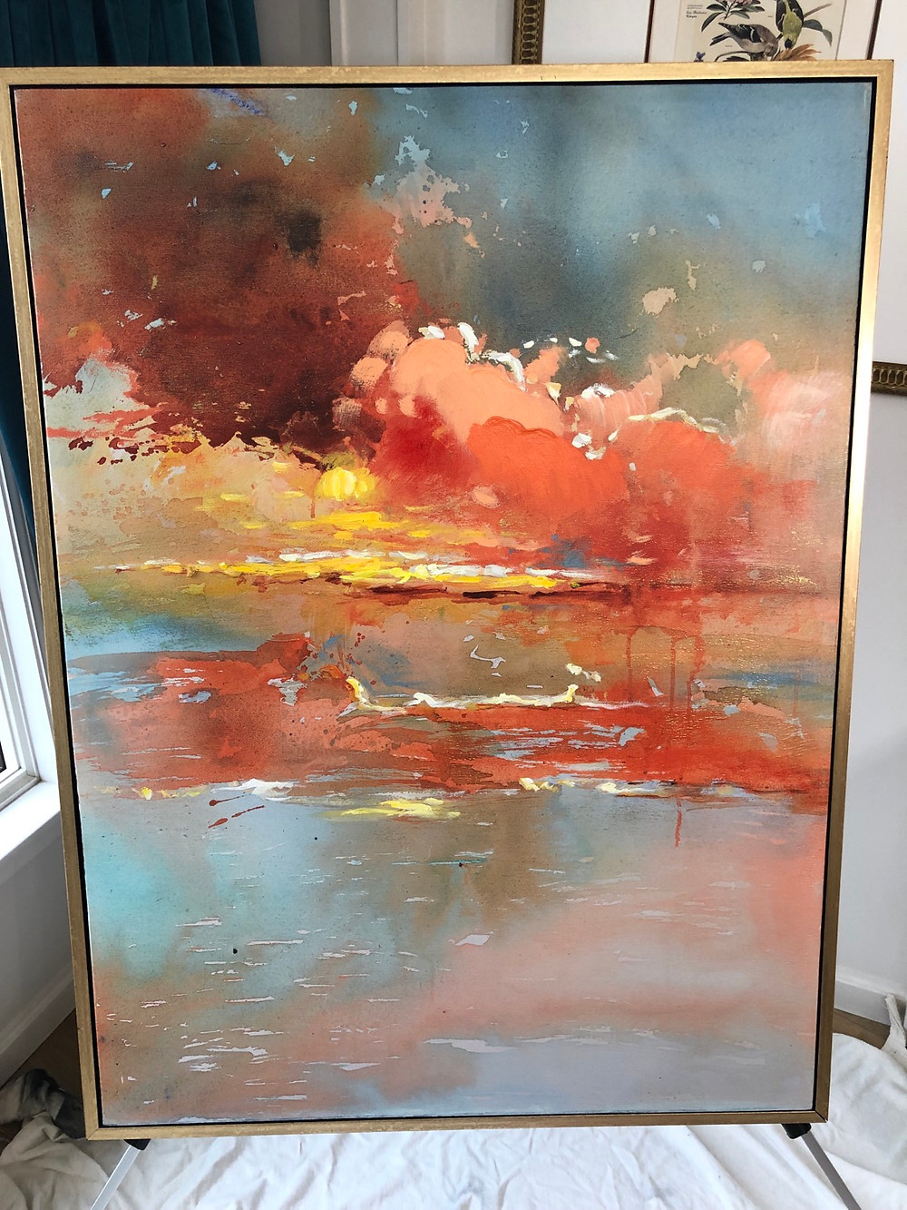 DIY Framed Canvas art. How to Paint a Modern Canvas Large painting