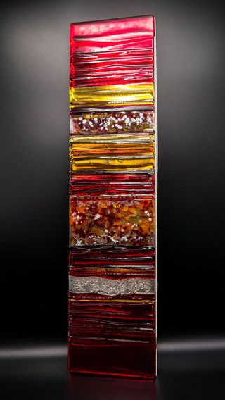 RED IN AMBER - Sculpted Glass Panel