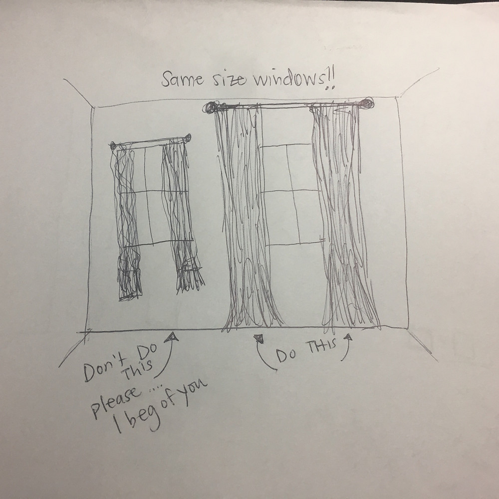 LoveLeeHomes How to hang Curtains sketch!