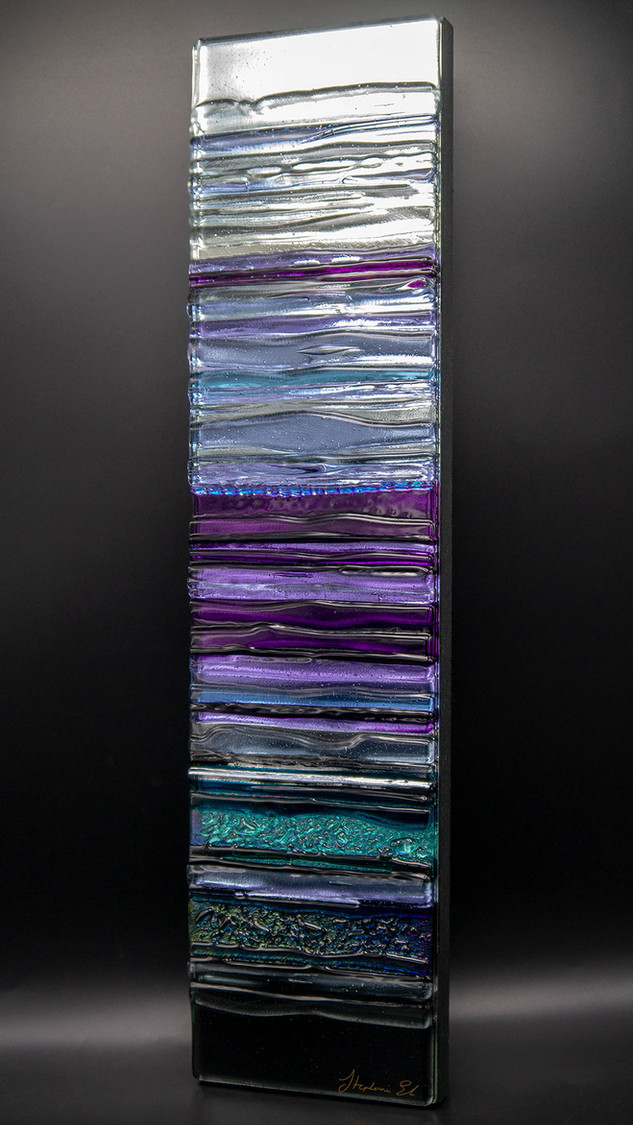 EQUINOX IN VIOLET - Sculpted Glass Wall Panel