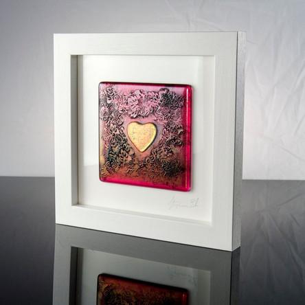 BAROQUE HEART - Framed Glass Tile