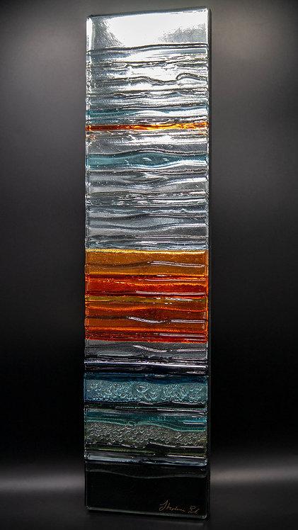 SUNSET WINTER SEASCAPE - Sculpted Glass Wall Panel