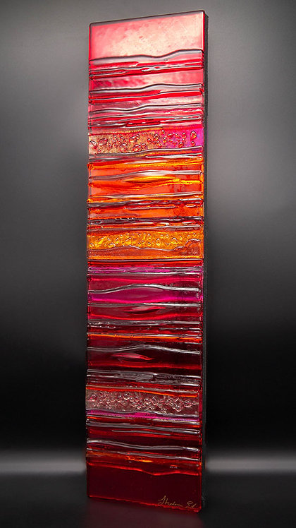 SUNSET IN RUBY - Sculpted Glass Wall Panel
