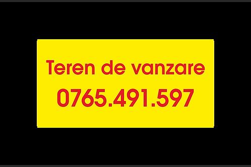 Banner publicitar cu textul Teren de vanzare