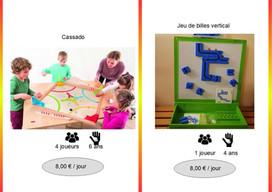 Cassado (Réf : Cassa057) Jeu dynamique où vous devrez être rapide et précis. Chaque joueur lance ses billes en métal, à l'aide du tobogan, afin de pousser le palet en bois dans le camp opposé. Tous les joueurs jouent simultanément !         Circuit de billes magnétique et vertical (Réf : BilVerti058)