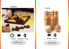 Cathédral (Ref : Cath027) Jeu abstraitde suprématie de territoire.  Stratégie, réflexion, calcul seront les atouts nécessaires pour piéger votre adversaire.         Bowling (Ref : Bow028) Des quilles + des boules ... le tout en bois.