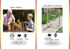 Quarto (Réf : Quar037) Le Quarto est un jeu de stratégie et de réflexion pour 2 joueurs.  Il s'agira de faire une ligne de 4 ... plus intance qu'un puissance 4 traditionnel puis que les pions n'appartiennent à personne.  A découvrir au plus vite.         Le Spin Ladder (Réf : Spin038) Jeu d'adresse et de lancer permettant de récolter des poins en fonction de la hauteur de la barre atteinte.