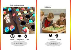 Rolit (Ref : Roli023) Pour gagner, capturer les boules de couleur de vos adversaire et devenez majoritaire dans votre couleur sur le plateau de jeu.  Très chouette jeu de réflexion pour 2, 3 ou 4 joueurs.          Kubbolino (Ref : Kubbo024) Le jeu de Kubb en version jeu de table.  Kubbolino est un jeu d'adresse et d'ambiance pour 2 joueurs ou 2 équipes.
