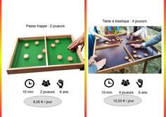 Passe trappe 2 joueurs (Réf : Pass049)       Table à élastiques (Réf : Tabéla050)