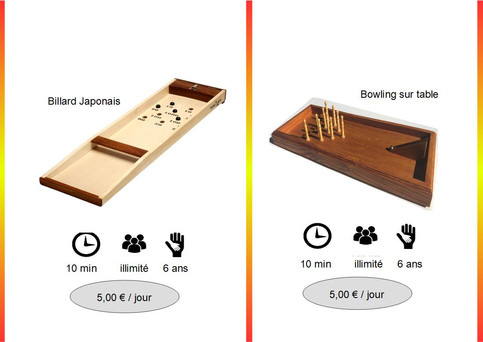Billard Japonnais (Réf : Jap045) Jeu traditionnel aux règles simples, le but étant de placer les billes dans des trous vous indiquant le nombre de points accordés.        Bowling sur Table (Réf : Bow046)
