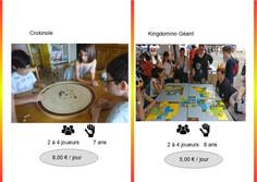 Crokinole (Ref : Croki013) Jeu de pichnettes, pour 2 à 4 joueurs, où chacun essaiera avec la plus grande dextérité de lancer les palets au centre du plateau de jeu.         Kingdomino (Ref : King014) Dans ce jeu surdimentionné de placement de tuiles, tous voudront acquérir les meilleures parcelles afin de se constituer le plus beau royaume.