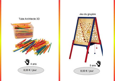 Tube Architecte 3D (Réf : Tub068) Simple d'apparence, ce jeu de construction permet aux enfants d'imaginer à volonté. Laissez-les faire, vous serez surpris par leur ingéniosité.         Jeu du gruyère (Réf : Gruy070)