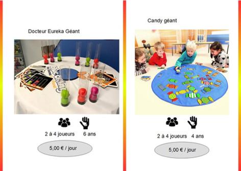 Docteur Eureka (Ref : Doc011) Ce jeu de rapidité mattra autour de votre table une ambiance légèrement survoltée.         Candy (Ref : Can012) Dans ce jeu de discrimination visuelle les enfants tâcheront de se concentrer au mieux afin de collecter, en fonction du lancé des dés, le plus de bonbons possible.