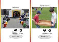 Speed Cup (Réf : 055) Qui de vous sera le plus rapide pour remettre par rapport à une carte les sceaux de couleur dans l'ordre ?        Golf des Hussarts (Réf : Golf056) Chaque joueur choisit deux couleurs et prend le jeu par les deux bras. La balle est alors posée sur le jeu.  Ensuite avec force, rapidité et detéermination mettez la balle dans un trou de votre couleur.