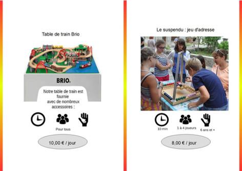 Table de train Brio (Ref : Brio005) Table de jeu fourni avec de nombreux accessoires de train.         Suspendu (Ref : Susp006) Jeu d'équilibre et d'adresse : chacun doit déposer ses propres billes en bois sur d'autres suspendues.