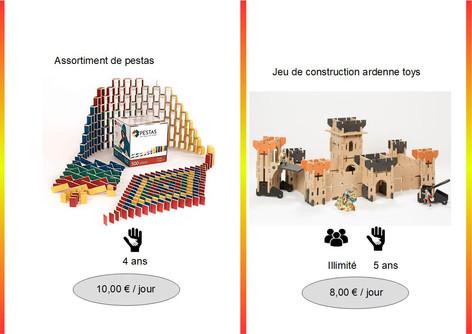 Baril de Pestas (Ref : Pest015) A l'aide de ces pièces en bois (FSC), jouez en famille ... Les Pestas sont à la fois un jeu de construction, de dominos, de cascade et d'équilibre.           Jeu de construction Ardenne toys (Réf : Ard016) Plus aucune tour, château, pont levis, chemin de garde n'aura de secret pour vous avec ce kit de construction de chez Ardenne Toys.