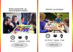 Blokkus (Réf : Blok041) En famille ou entre amis, Blokus garantit de joyeux moments de défi et de réflexion.  Essayez de placer le plus de pièces de votre couleur sur le plateau de jeu.  Les pièces se joignent uniquement par les pointes et pas par les côtés.         Katamino (Réf : Kata042) Katamino est un casse-tête passionnant qui se présente comme un puzzle évolutif. Prenez les pièces imposées par le défi, faites le vide dans votre esprit et tentez de remplir l'espace délimité par la réglette.