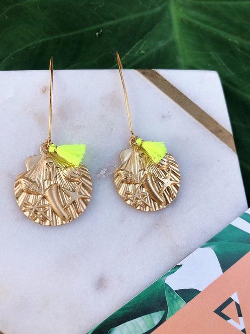 Neon Shell Earrings
