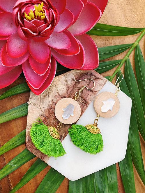 Hamsa Green Earrings