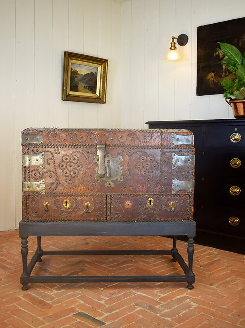19th Century Leather Domed Trunk