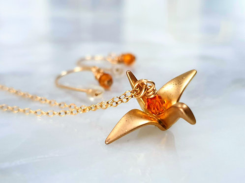 Origami Bird Necklace and Earrings