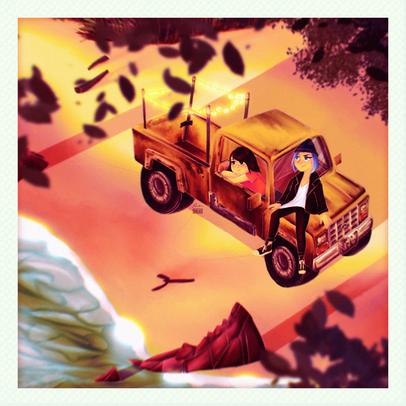 "Sunset - Memory of Max Caulfield + Chloe Price(from ""Life is Strange"") Fan Art"