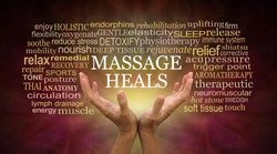 Massage heals word tag cloud - female hands reaching up with the words MASSAGE HEALS float