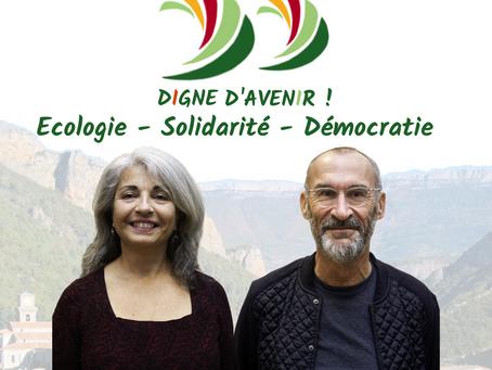 France GALLY et Gilles BREST, duo de tête pour la liste Digne d'Avenir