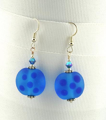 Aqua w/ blue dots etched bead earrings #0383