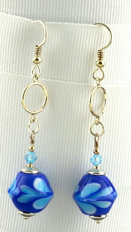 Lapis w/ aqua raked dot bead earrings #0352