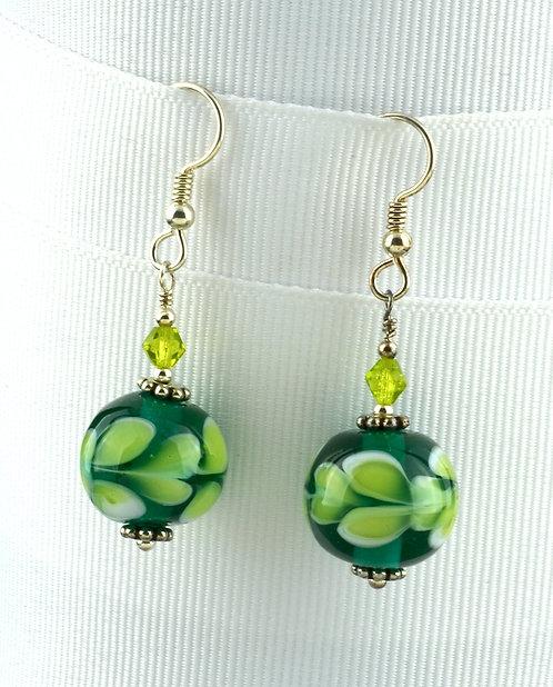 Teal  w/ white & lime dot bead earrings #0319