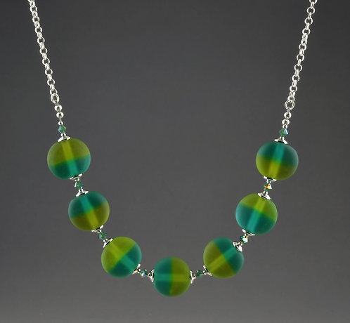Lentil shape olive/teal bead pearl necklace #0395