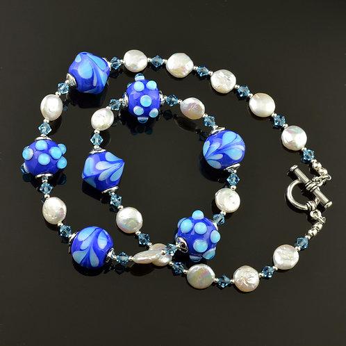 Lapis blu,white,aqua bead & pearl necklace #0368
