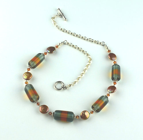 Topaz & gray striped beads & pearl necklace #0234