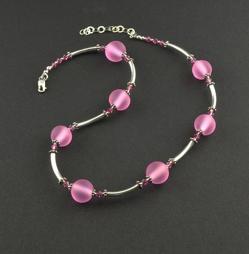 Pink blush transparent  bead necklace #0398